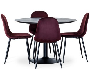 Miles rundt spisebord i ask træ og metal Ø110 cm - Sort/Sort
