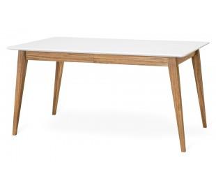 Mood spisebord med butterfly udtræk i mdf og egetræ 150 - 200 x 95 cm - Hvid/Natur