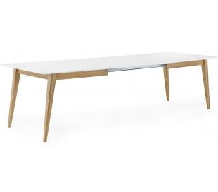 Mood spisebord med butterfly udtræk i mdf og egetræ 190 - 285 x 95 cm - Hvid/Natur