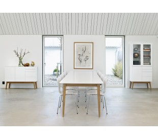 Mood vitrineskab i mdf, glas og egetræ H180 cm - Hvid/Natur