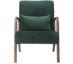 Bibi Lænestol i træ og velour H78 cm - Mørkebrun/Grøn