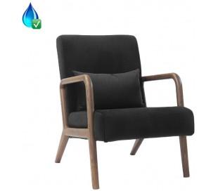 Bibi Lænestol i træ og velour H78 cm - Mørkebrun/Sort