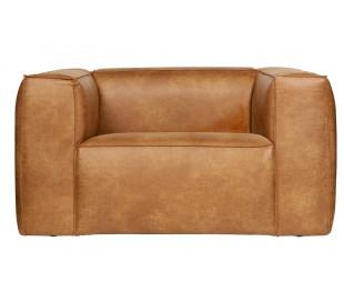 Lænestol i læder B146 cm - Vintage cognac