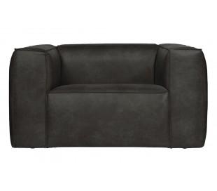 Lænestol i læder B146 cm - Vintage sort