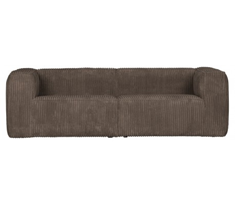Moderne 3,5 personers sofa i ripcord polyester 246 x 96 cm – Brun