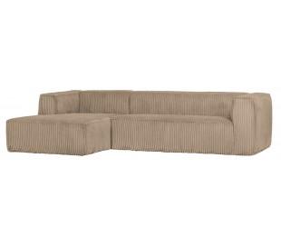 Moderne hjørnesofa i ripcord polyester 305 x 175 cm - Travertin