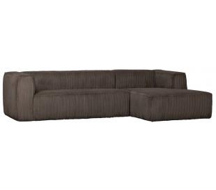 Moderne hjørnesofa i ripcord polyester 305 x 175 cm - Brun