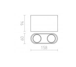 Mantova ll påbygningsspot 15,8 x 6 cm 2 x GU10 - Hvid