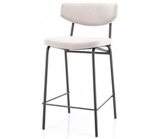 Barstol i polyester og metal H92 cm - Sort/Taupe