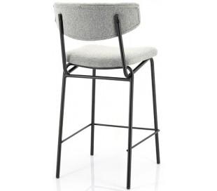 Barstol i polyester og metal H92 cm - Sort/Grå