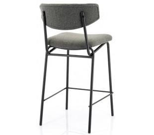 Barstol i polyester og metal H92 cm - Sort/Mørkegrå
