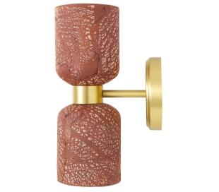 Sakura Væglampe H29 cm 2 x E27 - Poleret messing/Rustik rød