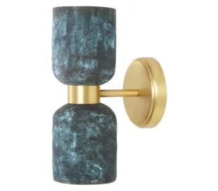 Sakura Væglampe H29 cm 2 x E27 - Poleret messing/Rustik blå