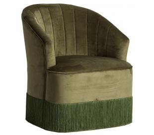 Bedsteforældre lænestol i velour H80 cm - Mørkegrøn