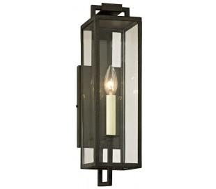 Beckham Væglampe i jern og glas H41,9 cm 1 x E14 - Antik sort/Klar