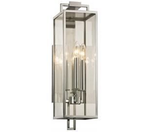 Beckham Væglampe i stål og glas H54,6 cm 3 x E14 - Poleret stål/Klar