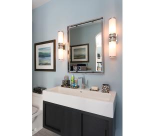 Harper Badeværelseslampe i messing og opalglas H53,5 cm 2 x E27 - Poleret nikkel/Opalglas