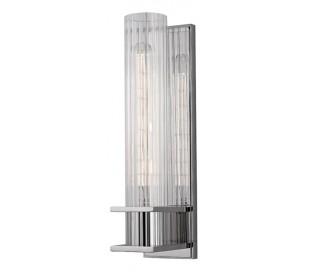 Sperry Væglampe i stål og glas H32,5 cm 1 x E27 - Poleret nikkel/Klar