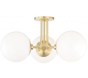 Stella Plafond i stål og opalglas Ø46,5 cm 3 x E27 - Antik messing/Opalhvid
