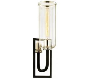 Aeon Væglampe i stål og glas H50,2 cm 1 x E27 - Sort/Poleret nikkel