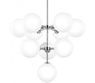 Ashleigh Lysekrone i stål og glas Ø76 cm 10 x G9 - Poleret nikkel/Opalglas