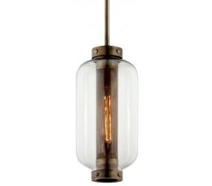 Atwater loftlampe i stål og glas H68 - 147 cm 1 x E27 - Antik messing/Klar