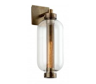Atwater væglampe i stål og glas H46 cm 1 x E27 - Antik messing/Klar