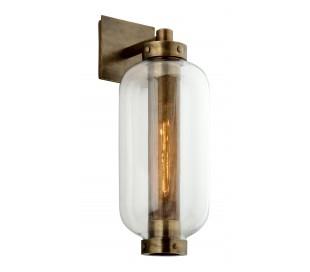 Atwater væglampe i stål og glas H61 cm 1 x E27 - Antik messing/Klar