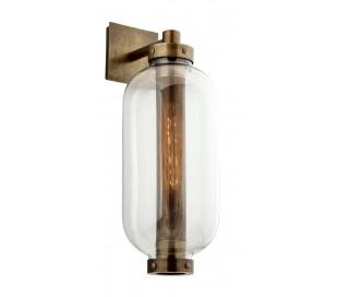 Atwater væglampe i stål og glas H66 cm 1 x E27 - Antik messing/Klar