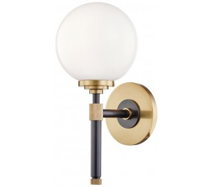 Bowery Væglampe i stål og glas H32,4 cm 1 x E27 - Aldret bronze/Opalglas