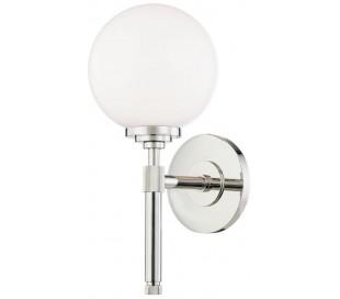 Bowery Væglampe i stål og glas H32,4 cm 1 x E27 - Poleret nikkel/Opalglas