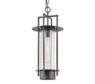 Carroll Park loftlampe i stål og glas H68 - 248 cm 1 x E27 - Aldret bronze/Klar