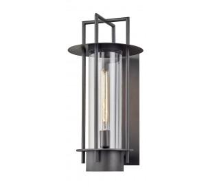 Carroll Park væglampe i stål og glas H53,3 cm 1 x E27 - Aldret bronze/Klar