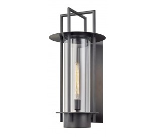 Carroll Park væglampe i stål og glas H66 cm 1 x E27 - Aldret bronze/Klar