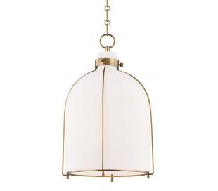 Eldridge Loftlampe i stål og glas Ø35,5 cm 1 x E27 - Antik messing/Opalhvid