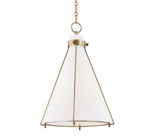Eldridge Loftlampe i stål og glas Ø39,4 cm 1 x E27 - Antik messing/Opalhvid