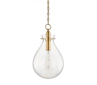 Ivy Loftlampe i stål og glas Ø32 cm 1 x E27 - Antik messing/Klar