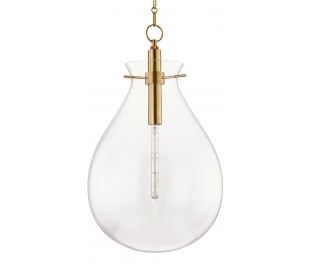 Ivy Loftlampe i stål og glas Ø46 cm 1 x E27 - Antik messing/Klar