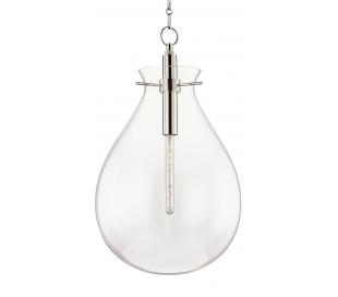 Ivy Loftlampe i stål og glas Ø46 cm 1 x E27 - Poleret nikkel/Klar