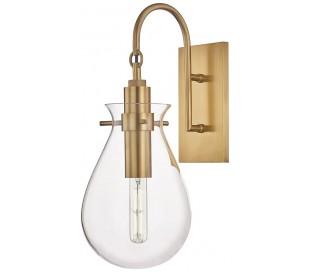 Ivy Væglampe i stål og glas H45,7 cm 1 x E27 - Antik messing/Klar