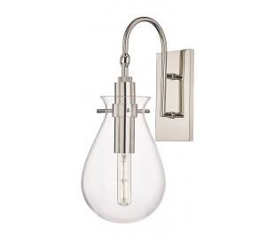 Ivy Væglampe i stål og glas H45,7 cm 1 x E27 - Poleret nikkel/Klar