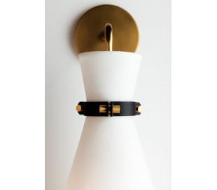 Julia Væglampe i stål og tekstil H43,2 cm 1 x E27 - Antik messing/Hvid