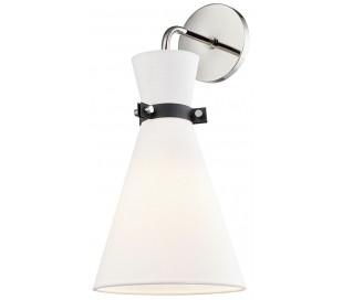 Julia Væglampe i stål og tekstil H43,2 cm 1 x E27 - Poleret nikkel/Hvid