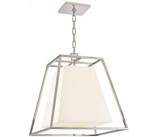 Kyle Loftlampe i stål og tekstil 43,2 x 43,2 cm 4 x E14 - Poleret nikkel/Hvid