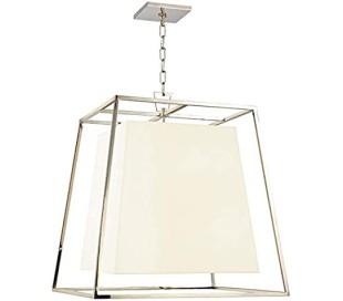 Kyle Loftlampe i stål og tekstil 61 x 61 cm 6 x E14 - Poleret nikkel/Hvid