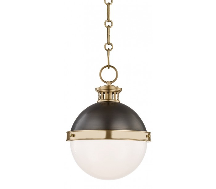 Latham Loftlampe i stål og glas Ø24,1 cm 1 x E27 - Aldret bronze/Opalhvid
