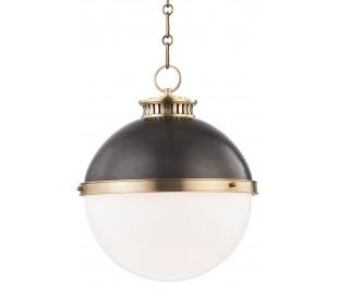 Latham Loftlampe i stål og glas Ø37,5 cm 1 x E27 - Aldret bronze/Opalhvid