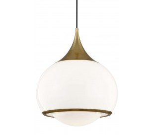 Reese Loftlampe i stål og opalglas Ø35,5 cm 1 x E27 - Antik messing/Opalhvid