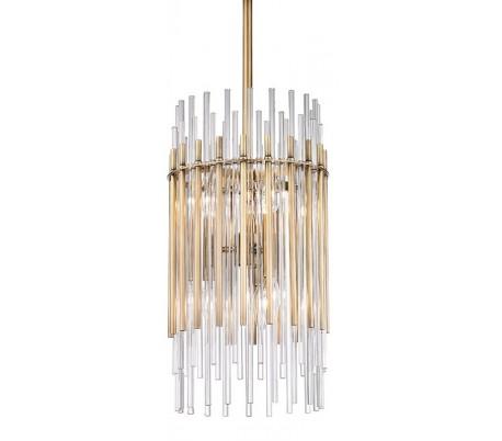 Wallis Loftlampe i stål og glas Ø50,2 cm 6 x E14 - Antik messing/Klar