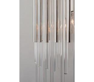 Wallis Loftlampe i stål og glas Ø50,2 cm 6 x E14 - Poleret nikkel/Klar